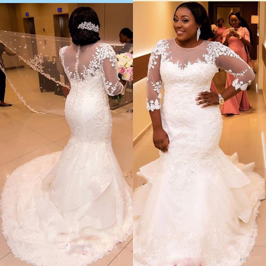 African Plus Size Wedding Dresses Jewel Sheer Neckline Lace
